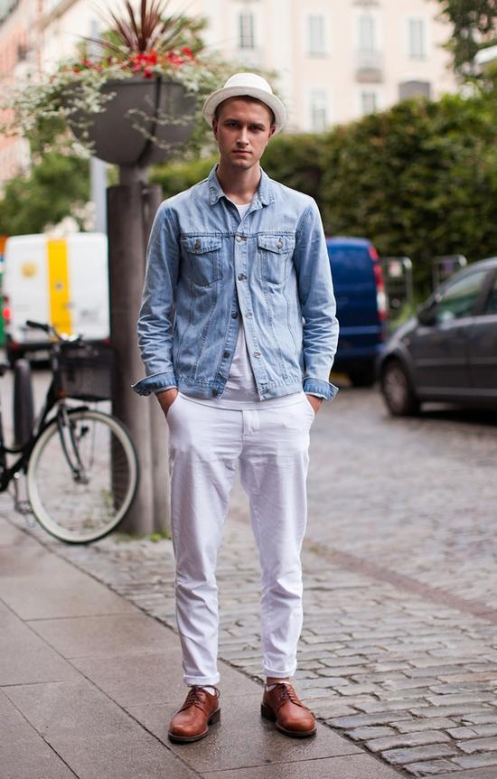 White Pants Blue Shirt Hat Style Inspiration: White Pants