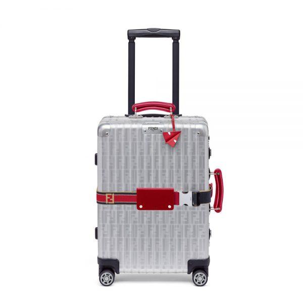 Fendi Rimowa Luggage Red Details 01 FENDI X RIMOWA Cabin Trolley Luggage, Red Edition