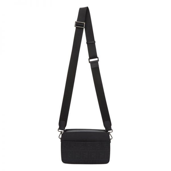 Fendi Camera Bag Men Black Logo Embossed Camera Bag