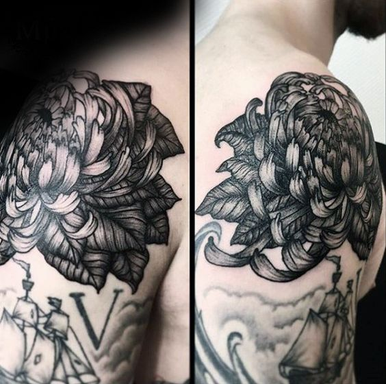 shoulder tattoo ideas flower chrysanthemum