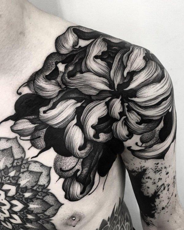 shoulder tattoo ideas large chrysanthemum