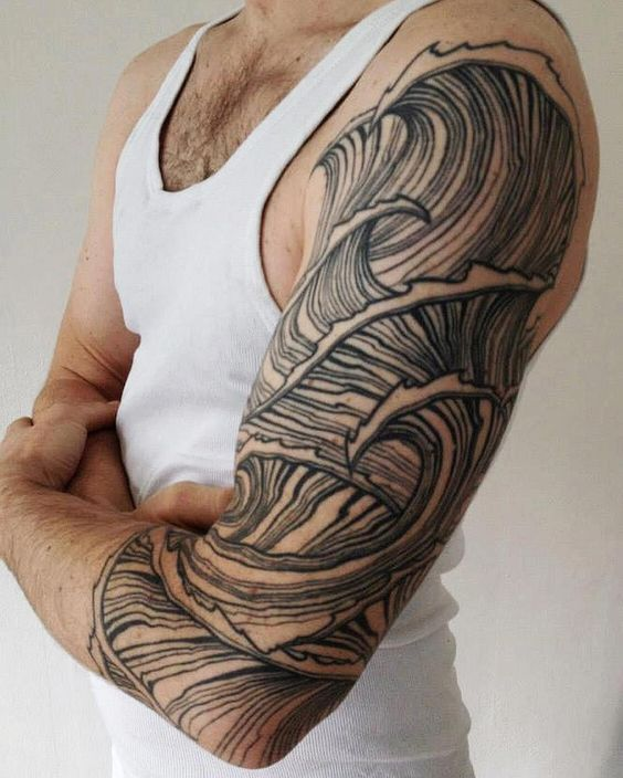 shoulder tattoo ideas waves