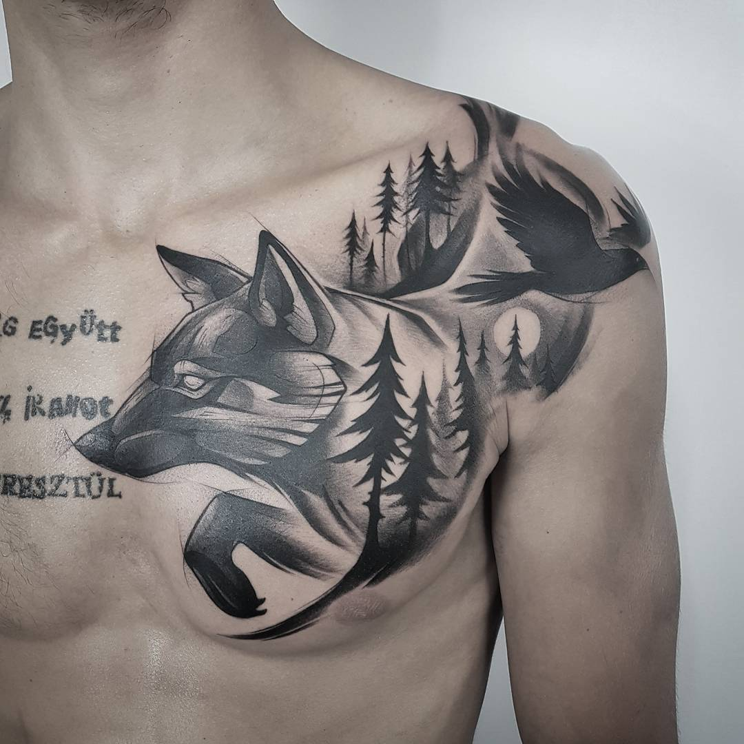 shoulder tattoo ideas wolf and eagle