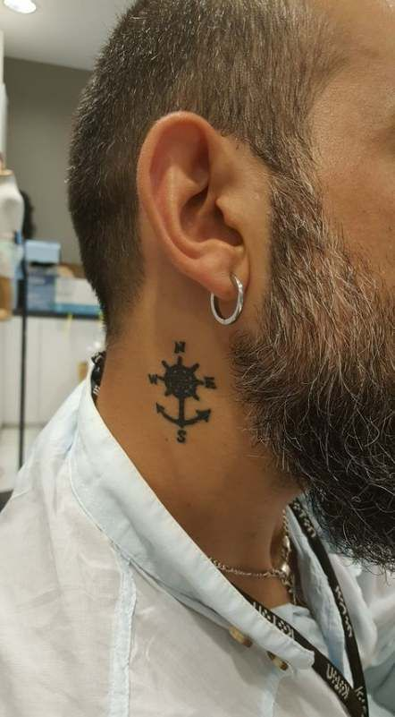 Neck Tattoo Idea Anchor With Compass 19 Classy Neck Tattoo Ideas & 46 Examples