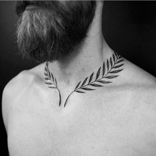 neck tattoo idea laurel wreath leaf