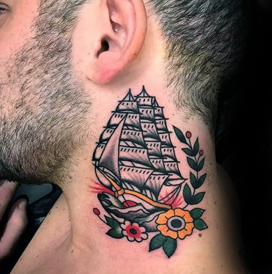 neck tattoo idea ship 2