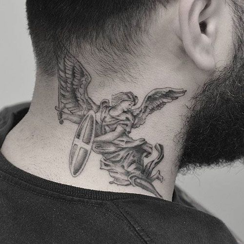 Neck Tattoo Idea Warrior Angel 19 Classy Neck Tattoo Ideas & 46 Examples