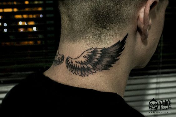neck tattoo idea wings 2